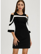 Striped Sheath Round Neck Cold Shoulder Sleeve Midi Casual Elegant Dresses