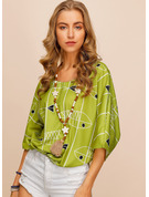 1/2 manches Coton Lin Col rond Blouses