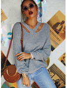 V-Neck Long Sleeves Solid Casual Pullovers