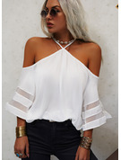 Regular Polyester Cold Shoulder Solid 3XL L S M XL XXL Blouses