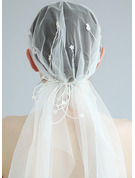 One-tier Cut Edge Waltz Bridal Veils With Beading