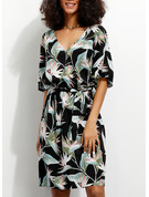 Viscose With Print Knee Length Dress