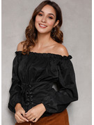 Long Sleeves Polyester Spandex Off the Shoulder Ruffle Blouses Blouses