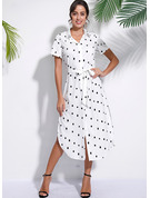 Polyester With PolkaDot/Slit Midi Dress