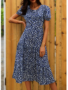 Floral Print A-line Round Neck Short Sleeves Puff Sleeves Midi Casual Elegant Skater Dresses