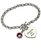 Christmas Gifts For Her - Custom Link & Chain Chain Bracelets Engraved Bracelets With Birthstone
