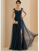 A-Line Sweetheart Sweep Train Tulle Evening Dress With Beading Sequins Split Front