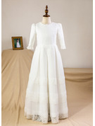 Empire Floor-length Flower Girl Dress - Satin Lace 3/4 Sleeves Scoop Neck
