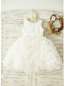 Knee-length Flower Girl Dress - Organza Satin Sleeveless Scoop Neck With Bow(s)
