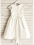 A-Line/Princess Knee-length Flower Girl Dress - Cotton Sleeveless Scoop Neck With Lace Bow(s)