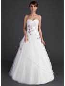 Ball-Gown Sweetheart Floor-Length Organza Quinceanera Dress With Ruffle Beading Appliques Lace Sequins