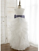 A-Line/Princess Floor-length Flower Girl Dress - Organza/Satin Sleeveless Scoop Neck With Bow(s) (Undetachable sash)