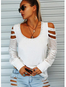 Regular Cotton Blends Cold Shoulder Beaded Solid Fitted Blouses