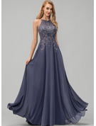 Scoop Neck Floor-Length Chiffon Prom Dresses With Lace Sequins