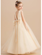 Ball-Gown/Princess Floor-length Flower Girl Dress - Satin Tulle Sleeveless Scoop Neck With Beading Bow(s)
