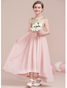 A-Line/Princess Ankle-length Flower Girl Dress - Chiffon/Sequined Sleeveless Scoop Neck With Flower(s)/Sequins/Bow(s)