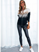 Round Neck Long Sleeves Regular Color Block Print Casual Cardigans