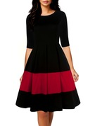 Cotton/Spandex With Stitching/Color-block Above Knee Dress