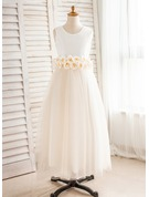 A-Line/Princess Floor-length Flower Girl Dress - Satin/Tulle Sleeveless Scoop Neck With Flower(s)/Bow(s)