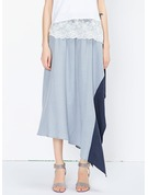 A-Line Skirts Maxi Color Block Polyester Skirts