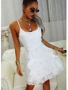 Print A-line Spaghetti Straps Sleeveless Midi Casual Vacation Skater Type Dresses