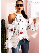 Regular Cotton Blends Cold Shoulder Floral Print 3XL L S M XL XXL Blouses