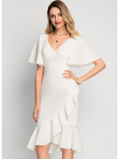 V-Neck Asymmetrical Stretch Crepe Cocktail Dress With Cascading Ruffles