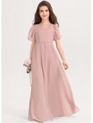 V-neck Floor-Length Chiffon Junior Bridesmaid Dress With Bow(s)