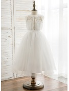 A-Line/Princess Tea-length Flower Girl Dress - Chiffon/Tulle/Lace Sleeveless Scoop Neck With Pleated