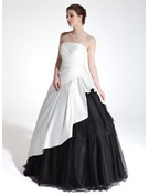 Ball-Gown Sweetheart Floor-Length Charmeuse Tulle Quinceanera Dress With Cascading Ruffles