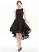 A-Line Scoop Neck Asymmetrical Lace Homecoming Dress
