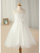 A-Line/Princess Tea-length Flower Girl Dress - Satin/Tulle/Lace Sleeveless Scoop Neck With Sash/Beading/Bow(s)