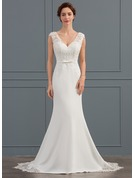 Trumpet/Mermaid V-neck Court Train Satin Wedding Dress With Sequins Bow(s)