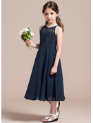 Scoop Neck Tea-Length Chiffon Lace Junior Bridesmaid Dress With Ruffle
