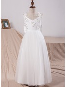 A-Line/Princess Floor-length Flower Girl Dress - Tulle/Lace Sleeveless V-neck With Appliques/Bow(s)