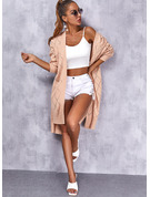 V-Neck Long Sleeves Long Solid Casual Cardigans