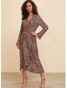 Polyester With Print/Ruffles Midi Dress