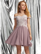 A-Line Off-the-Shoulder Short/Mini Chiffon Prom Dresses With Lace