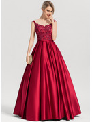 Scoop Neck Floor-Length Satin Evening Dress With Sequins