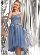 A-Line Scoop Neck Asymmetrical Tulle Prom Dresses With Sequins