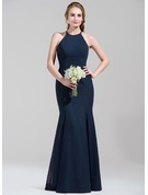 Trumpet/Mermaid Scoop Neck Floor-Length Chiffon Bridesmaid Dress With Ruffle Bow(s)
