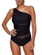 Elegant Solid Color Chinlon Spandex One-piece