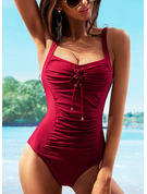 Sexy Plus Size Solid Color Polyester One-piece