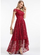 Scoop Neck Asymmetrical Lace Evening Dress