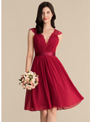 V-neck Knee-Length Chiffon Lace Bridesmaid Dress With Ruffle