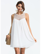 Chiffon With Lace/Resin solid color Above Knee Dress