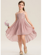 Square Neckline Asymmetrical Chiffon Lace Junior Bridesmaid Dress