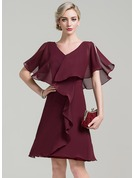 A-Line/Princess V-neck Knee-Length Chiffon Mother of the Bride Dress With Cascading Ruffles