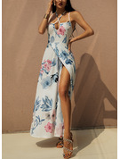 Floral Print Backless A-line Spaghetti Straps Sleeveless Maxi Sexy Vacation Skater Type Dresses