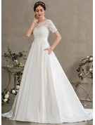 Scoop Neck Court Train Satin Wedding Dress With Beading Sequins Pockets